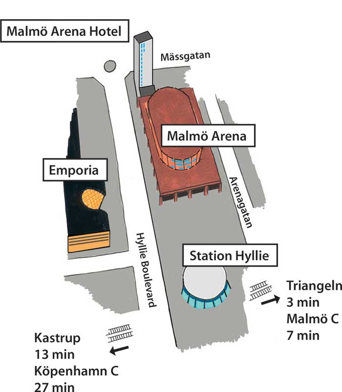 Map of Malmö Arena / Hyllie